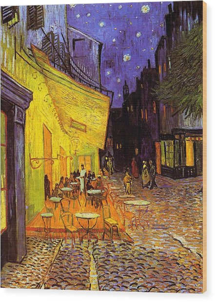 Cafe Terrace At Night Wood Print