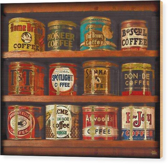 Caffe Retro No. 1 Wood Print