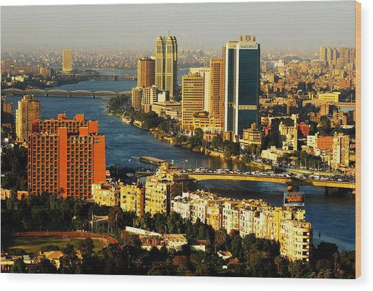 Cairo From Above Wood Print by Chaza Abou El Khair