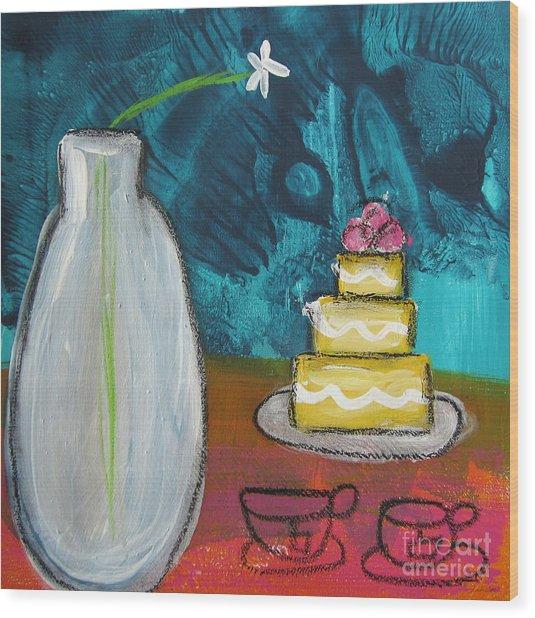 Cake And Tea For Two Wood Print