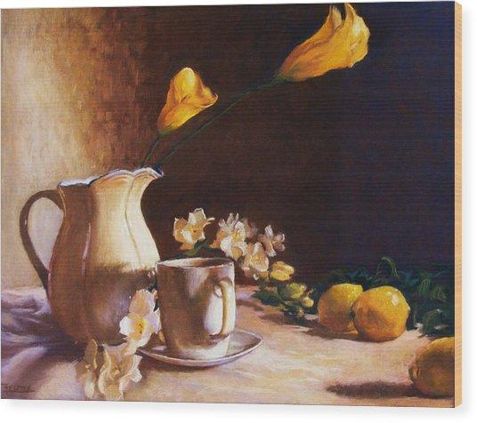 Cala Lily And Lemon Wood Print