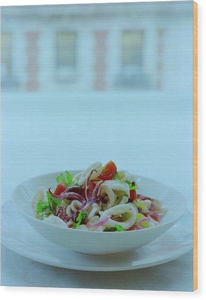 Calamari Salad Wood Print