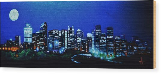 Calgary Canada In Black Light Wood Print