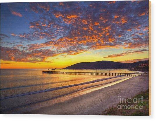 Avila Beach Sunset Wood Print