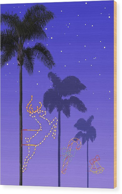 California Christmas Palm Trees Wood Print