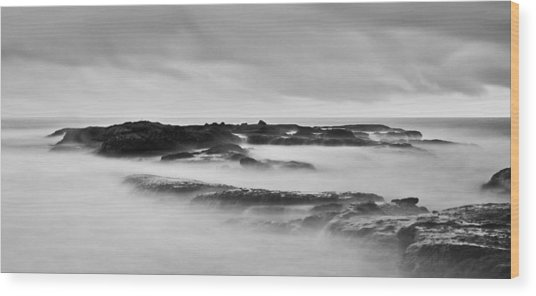 California Coast Long Exposure In The Morning Wood Print by Andrew Raby