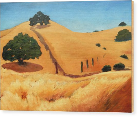 California Dry Grass Wood Print