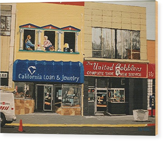 California Loan And United Cobblers Wood Print by Paul Guyer
