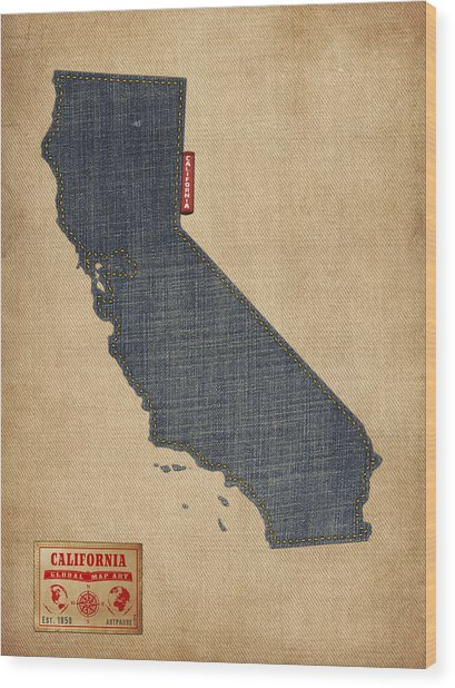 California Map Denim Jeans Style Wood Print