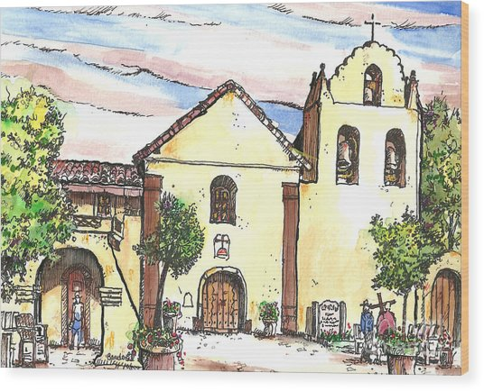 California Mission-santa Ines Wood Print