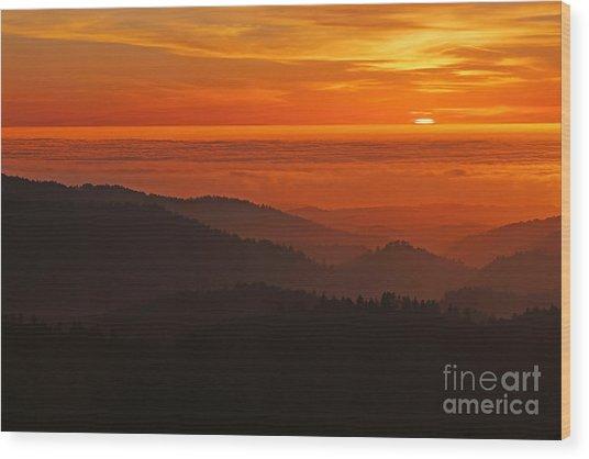 California Mountain Sunset Wood Print by Matt Tilghman