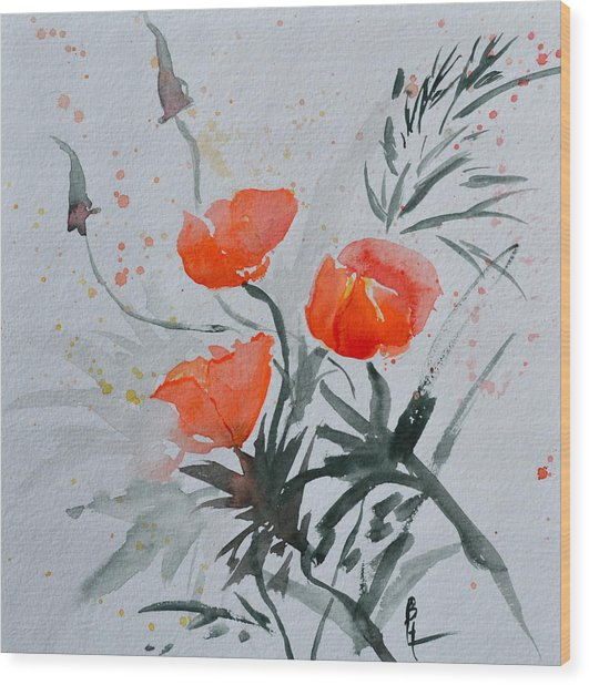 California Poppies Sumi-e Wood Print