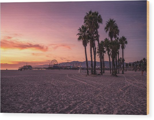 California Sunset At The Beach Wood Print by Dennis Fischer Photography