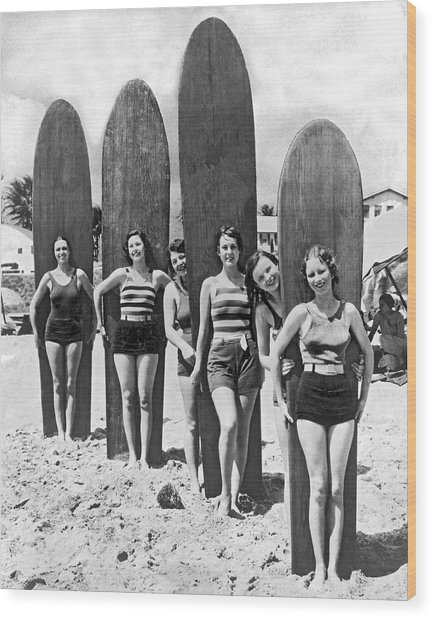 California Surfer Girls Wood Print