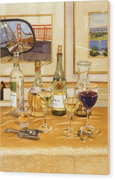 California Wine And Watercolors Wood Print by Mary Helmreich