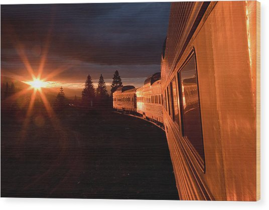 California Zephyr Sunset Wood Print