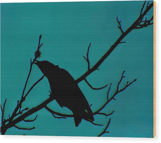 Call Of The Crow On Aqua 2 Wood Print