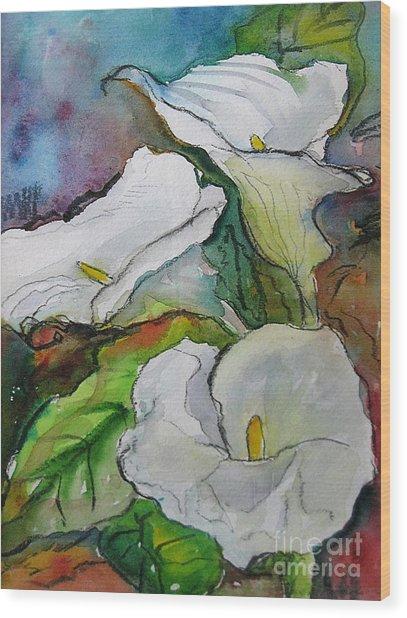 Calla Lilies Wood Print by Gwen Nichols