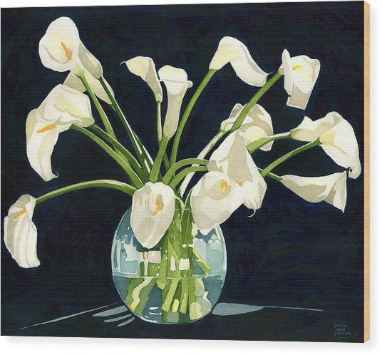 Calla Lilies In Vase Wood Print