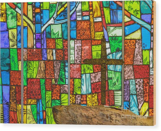 Callaway Gardens Chapel Alter Stone And Stained Glass Window Wood Print