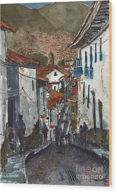 Calle Triunfo In Cusco Peru Wood Print