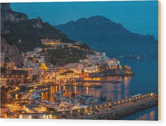Calm Night Over Amalfi Coast Wood Print