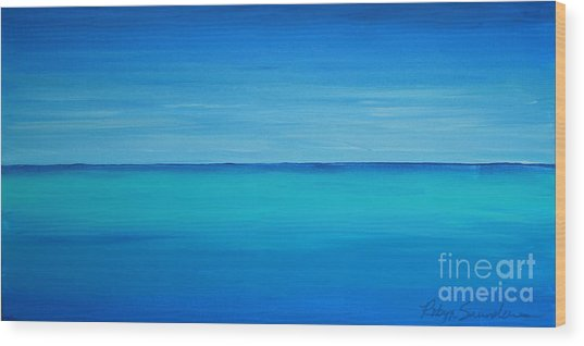 Calming Turquise Sea Part 1 Of 2 Wood Print