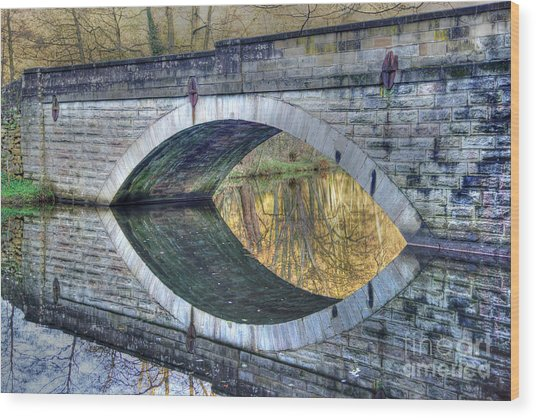 Calver Bridge Reflection Wood Print