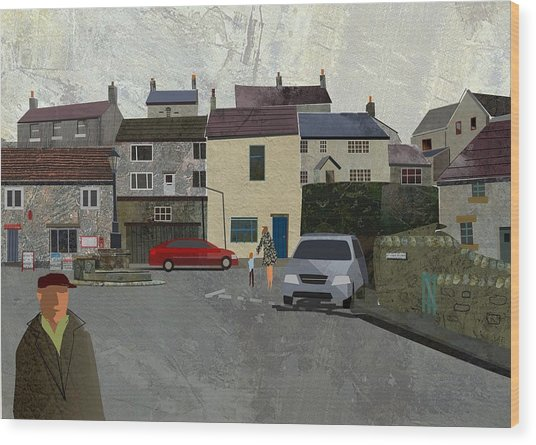 Calver Village Wood Print by Kenneth North