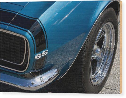 Camaro In Blue Wood Print by Paulette Moran Dalton