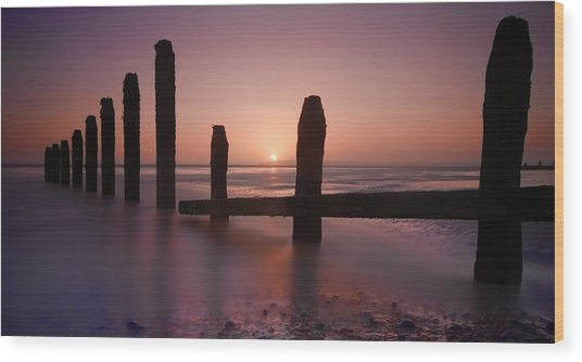 Camber Sands Sunset Wood Print by Mark Leader