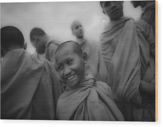 Cambodian Novice Smiles Wood Print by David Longstreath
