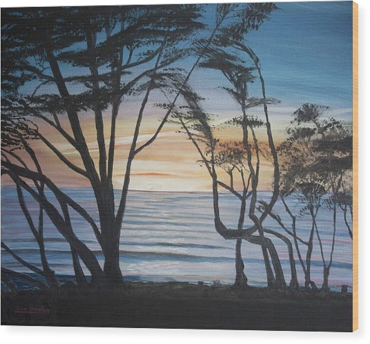 Cambria Cypress Trees At Sunset Wood Print