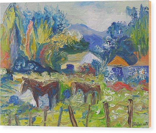 Cambridge Horses Original Artwork By Ekaterina Chernova Wood Print