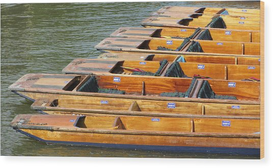 Cambridge Punts Wood Print by Donald Turner