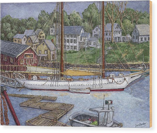 Camden Maine Wood Print