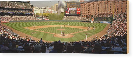 Camden Yards Baseball Game Baltimore Wood Print