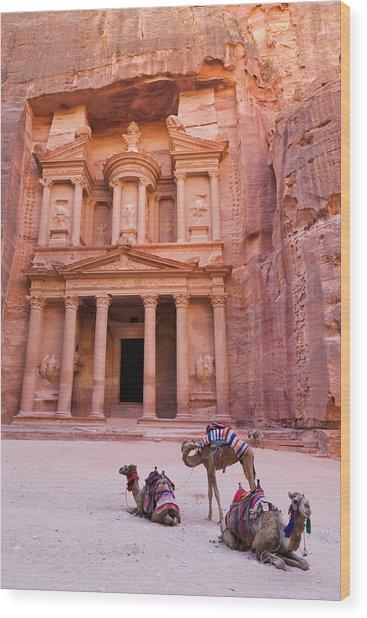 Camel At The Facade Of Treasury (al Wood Print by Keren Su