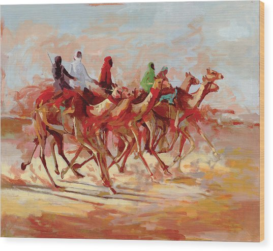 Camel Race Wood Print