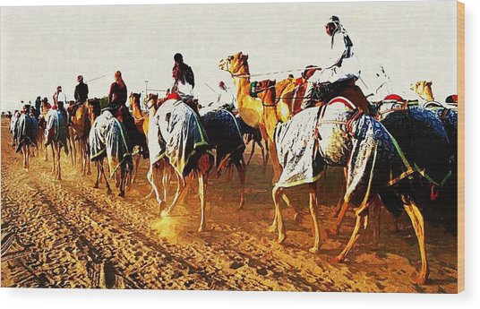 Camel Train Wood Print by Peter Waters
