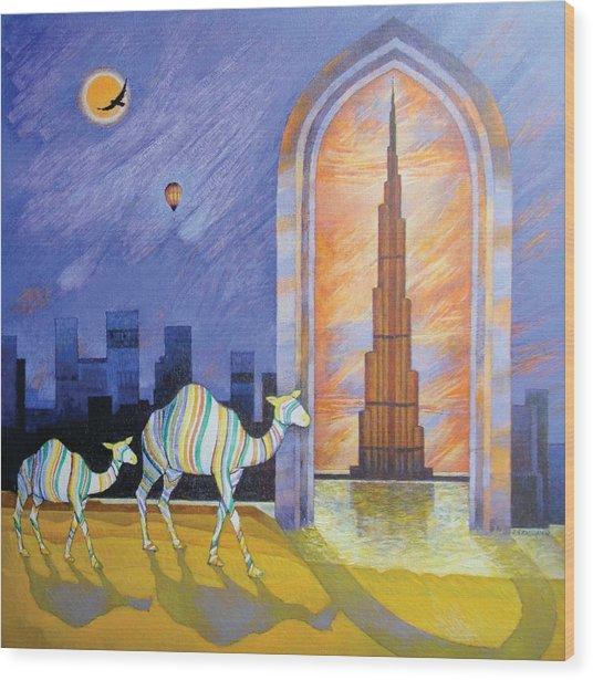 Camels In The Wonderland  Wood Print