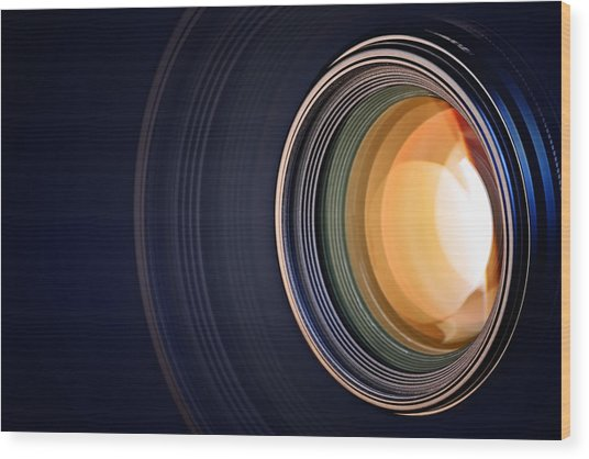 Camera Lens Background Wood Print