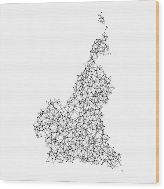 Cameroon Map Network Black And White Wood Print by FrankRamspott