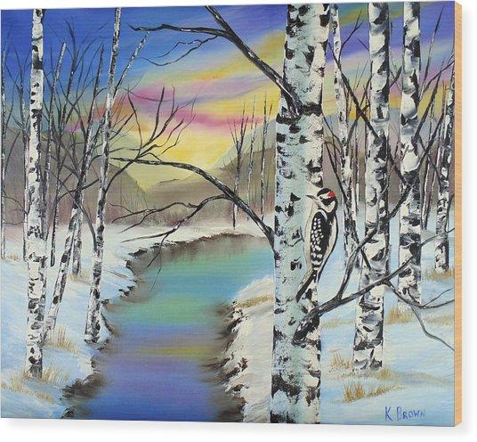 Camouflage Woodpecker Wood Print