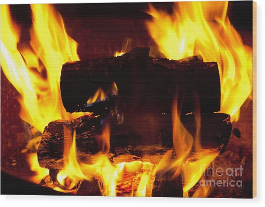 Campfire Burning Wood Print