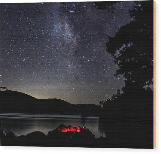 Campfire Under The Stars Wood Print