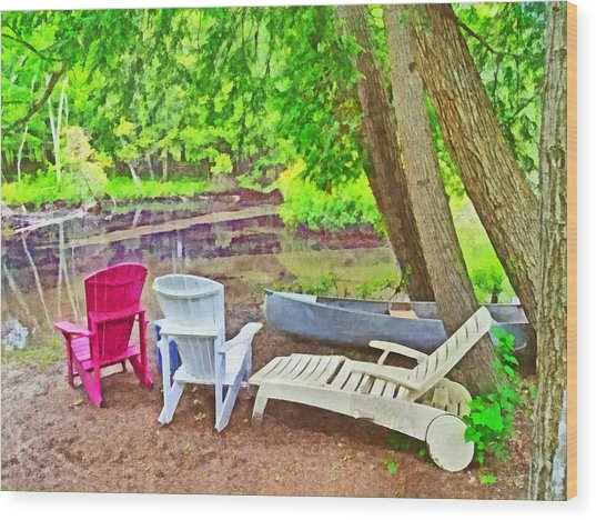 Camping On The Crystal River Wood Print