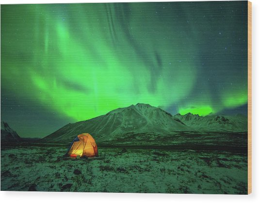 Camping Under Northern Lights Wood Print by Piriya Photography