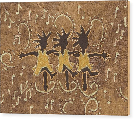 Can Can Dancers Wood Print