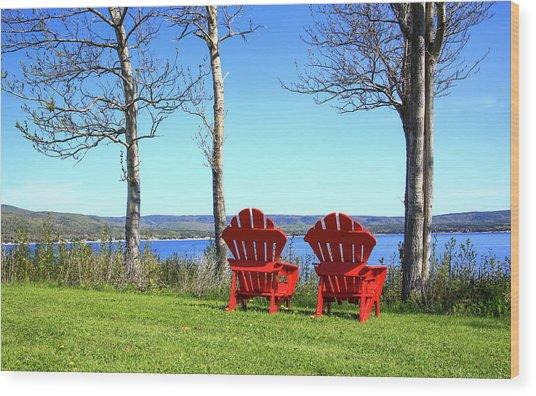 Canada, Nova Scotia, Adirondack Chairs Wood Print by Patrick J. Wall